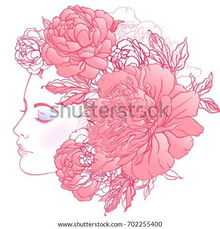 Stock Photo Profile of a young girl with peonies in her hair. Hand drawn vector fashion illustration in pink color. Female portrait of magic floral fairy. Fantasy, Beauty, fashion, tattoo design.