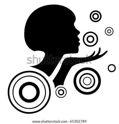 Profile of girl blowing a kiss - stock vector