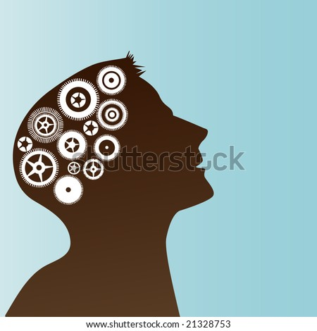 profile of male with gears in brain concept
