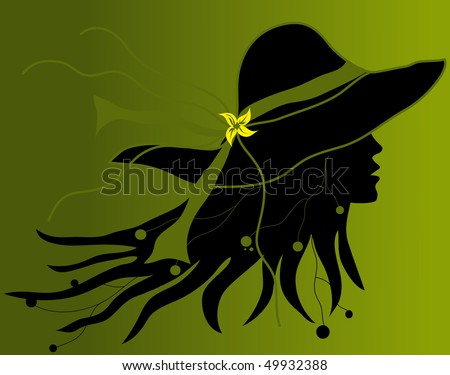 Profile of woman's face with a hat on green background