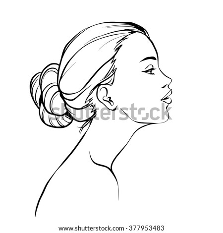 profile of young beautiful