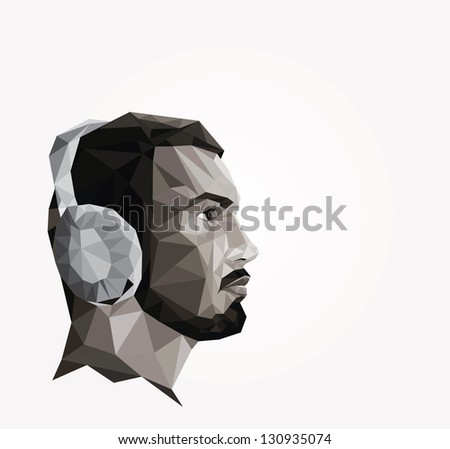 profile of young man made of