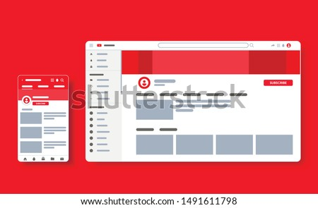 Profile page of youtube video plaer. Blogger channel. UI UX template of website. Responsive social media page for smartphone and desktop. Vector Illustration mock up.