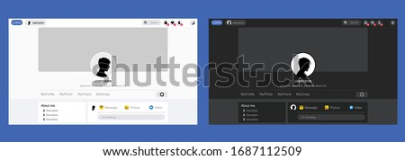 Profile pages on social media inspiration from facebook in 2020, vector have two styles is dark mode and lite mode.