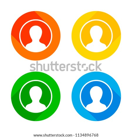 Profile, person in circle. Flat white icon on colored circles background. Four different long shadows in each corners