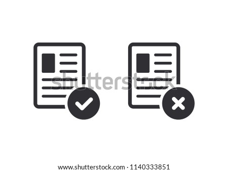 Profile - vector icon. Tasks - vector icon. Reject file. Accept document. Igned, approved, document icon. Project completed. Questionnaire sign. Checkmark OK and  X icons. Symbols YES and NO.