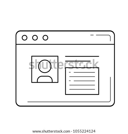 Profile vector line icon isolated on white background. Browser window with profile picture line icon for infographic, website or app. Stock photo ©