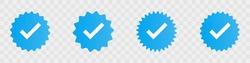 Profile verification check marks icons. Vector illustration