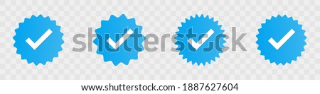 Profile verification check marks icons. Vector illustration Photo stock ©