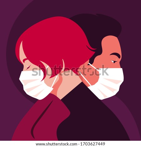 Profiles of people. Faces of woman and man wear medical masks. Date and the epidemic. Coronavirus. Love in the distance. Husband and wife. Vector flat illustration Stockfoto ©