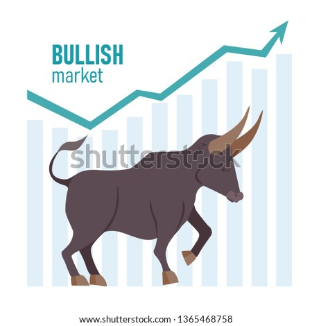 Profit concept represented by Bull icon. Bullish trend in the stock market. Stock market and business concept. Vector illustration.