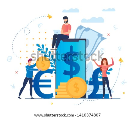 Profit from Currency Exchange Services Cartoon. Man Sits on Screen Large Smartphone. Mobile Application for Profitable and Convenient Exchange Currency Currencies. People Rejoice in Money.