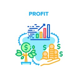 Profit Growing Vector Icon Concept. Money Profit Growing And Monitoring Increase Finance Chart. Growth Cash Tree And Heap Of Coin Holding Businessman. Financial Wealth Color Illustration