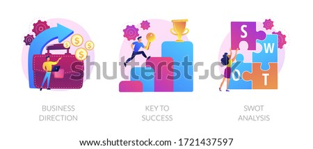 Profit growth, career success achievement, strengths and weaknesses assessment icons set. Business direction, key to success, swot analysis metaphors. Vector isolated concept metaphor illustrations