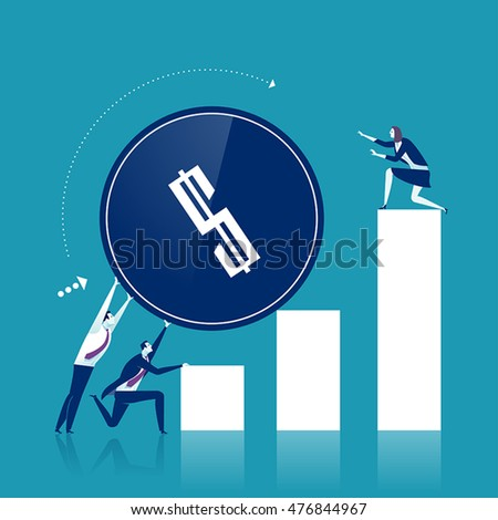 Profit Increasing. Businessmen trying to push up a coin. Business concept vector illustration