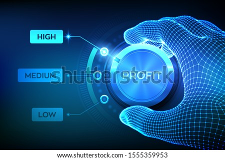 Profit levels knob button. Increasing Profit Level. Wireframe hand setting profit button on highest position. Finance concept illustration of profitability or return on investment. Vector illustration ストックフォト ©