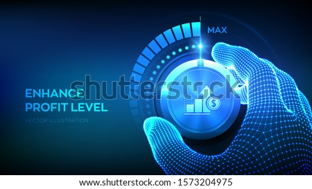 Profit levels knob button. Increasing Profit Level. Wireframe hand turning a profit test knob to the maximum position. Finance concept of profitability or return on investment. Vector illustration. ストックフォト ©