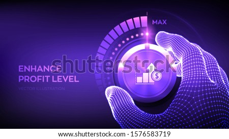 Profit levels knob button. Increasing Profit Level. Wireframe hand turning a profit test knob to the maximum position. Finance concept of profitability or return on investment. Vector illustration.