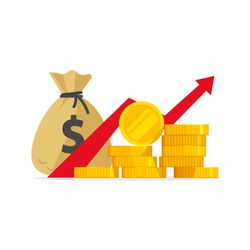 Profit money or budget vector illustration, flat cartoon pile of cash and rising graph arrow up, concept of business success, economic or market growth, investment revenue, capital earnings, benefit