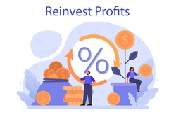 Profit reinvestment concept. Investing business profit in a new project. Idea of financial growth. Investment strategy and capital mobilizing. Isolated flat vector illustration