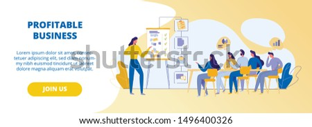 Profitable Business. Drawn Character, Business Coach Stands in Front of Audience Explains to Colleagues, Group Students Basics and Principles Success. Basic Concepts. Diagrams. Infographics. Banner.