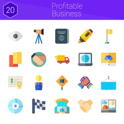 profitable business icon set. 20 flat icons on theme profitable business. collection of handshake, deal, flag, siam paragon, cards, sign, investment, video camera, delivery truck