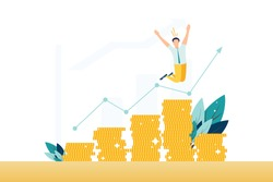 Profitable investment, funding flat vector illustration. Stock market income. Successful businessman standing on coins stack. Millionaire banker, financier cartoon character. Diagram, graph growth