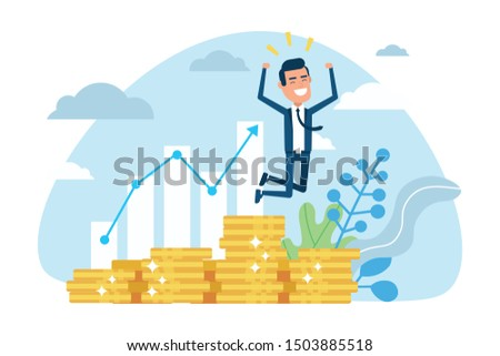 Profitable investment, funding flat vector illustration. Stock market income. Successful businessman jumping on coins stack. Millionaire banker, financier cartoon character. Diagram, graph growth