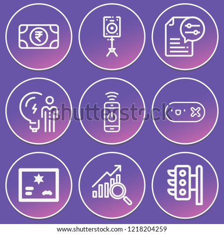 Profits, money, traffic lights, business idea, smartphone, tag, diploma, loudspeaker icon set suitable for info graphics, websites and print media and interfaces