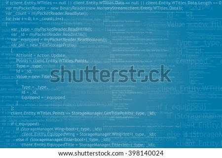 Program code background. Algorithm programming. White on blue abstract background. Vector illustration.