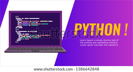 Program code on the laptop screen. Banner flat style. laptop with a code computer language python. Vector illustration