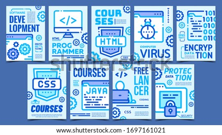 Program Coding Advertising Posters Set Vector. Html, Css And Java Courses, Freelancer Coding And Development Collection Of Different Promotional Banners. Concept Mockup Stylish Colorful Illustrations Zdjęcia stock ©