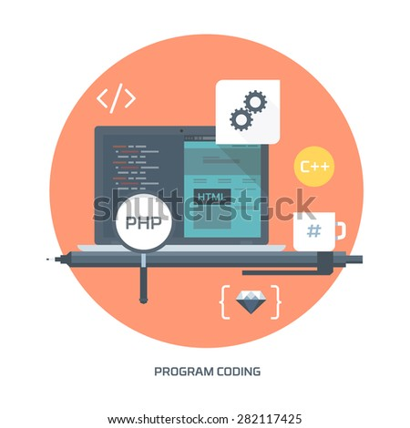 program coding, flat style, colorful, vector icon set for info graphics, websites, mobile and print media.