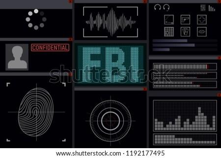 Program for the FBI. Display vector illustration. Spy