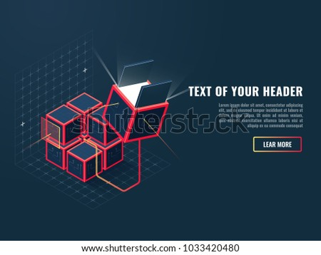 Program product buying, addition installation concept, developing and creation of website and other digital services isometric vector illustration