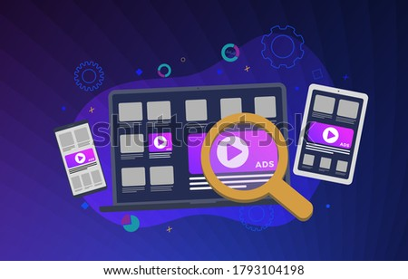 Programmatic Advertising business concept illustration. Native cross targeting online ad marketing strategy. Programmatic Native Advertising media banner block when viewing a site on laptop and mobile