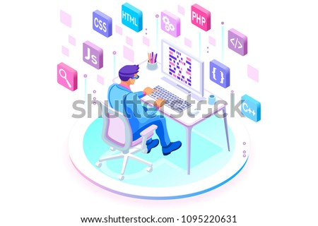 Programmer and engineering development illustration. A developer of project team of engineers for website coding. Software programming, web agency, professional employee at laptop. Isometric vector.