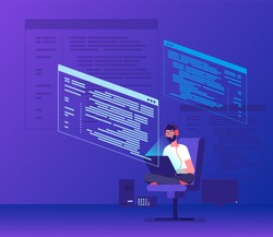 Programmer coding. Young man freelancer working on program code with laptop. Geek coding software vector concept