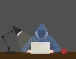 programmer hacker working on front of his laptop writing code in the middle of night vector graphic illustration