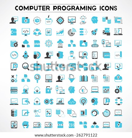 programmer icons set, software developer icons #262791122