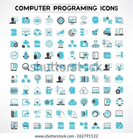 programmer icons set, software developer icons #262791122