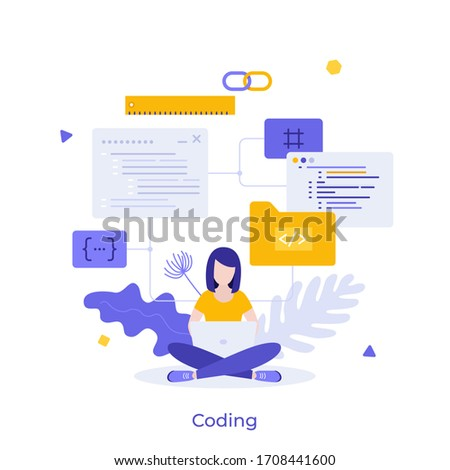Programmer or coder sitting cross-legged and working on laptop computer. Concept of front-end and back-end programming, software development, program coding. Modern colorful flat vector illustration.