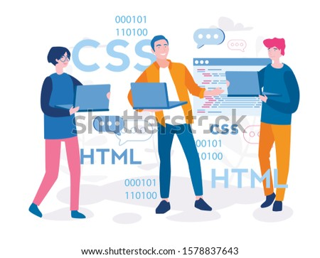 Programmer or web designer working  with team on laptop. HTML and CSS, Vector illustration for web, infographics, mobile.Creative working process, teamwork, developers work together, develop code.