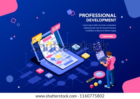 Programmer person and interactive technical software. Professional code for company concept with characters and text services. Flat isometric flowchart icons for infographic images vector illustration