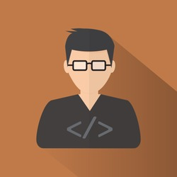 Programmer simple flat icon on brown background