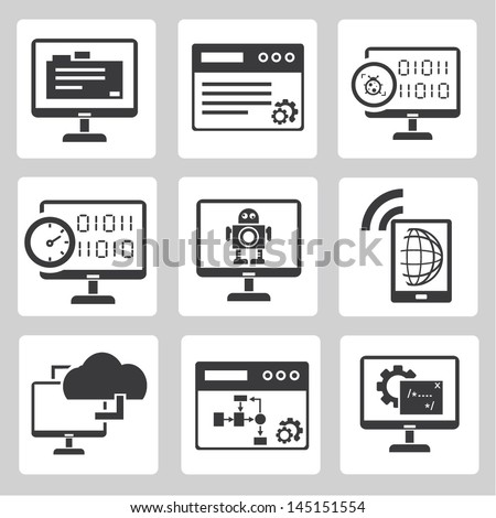 programmer, software development and internet application icons set