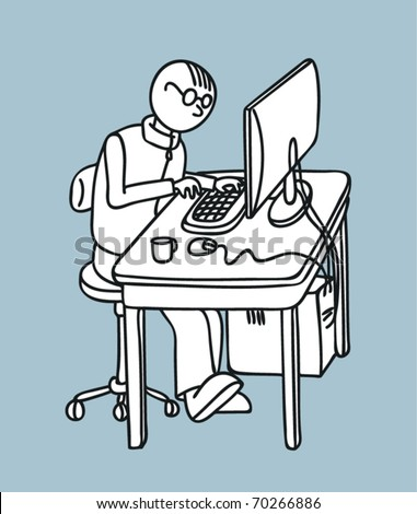 Programmer working at the computer. Vector illustration.