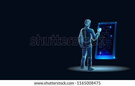 Programmer working in a software develop company office. Developing programming and coding technologies concept. UX UI User Interface and User Experience Process. Low poly style. Vector illustration.
