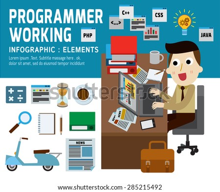 programmer working .infographic elements.modern flat icons. vector 