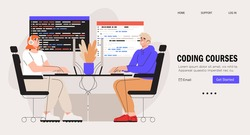 Programmer working on web development on computer. Concept of script coding and programming web site. Mobile app and computer software developing online courses banner, web landing page.